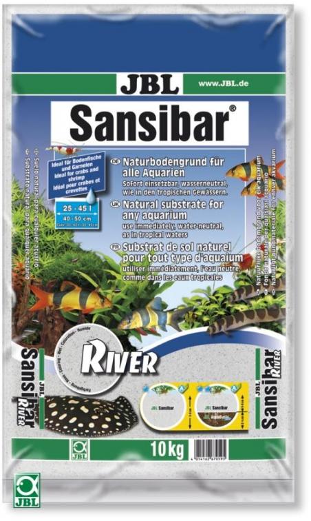 JBL Sansibar River, 10 кг - Грунт для аквариума, белый с черными камушками
