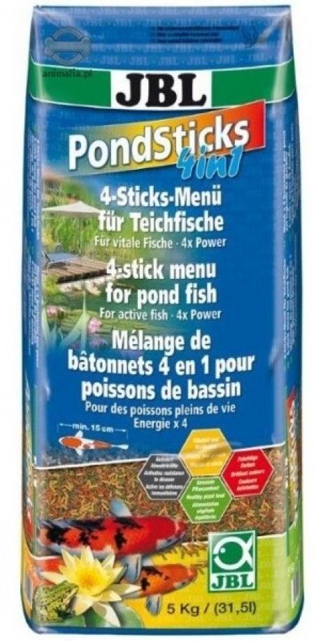 JBL Pond Sticks 4in1 31,5л - Комплексный корм для всех видов прудовых рыб в виде палочек различного цвета